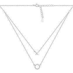 Серебряное колье Тандем с двумя цепочками и подвесками в фианитах