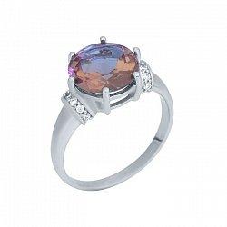 Серебряное кольцо Марсианка с корундом и фианитами