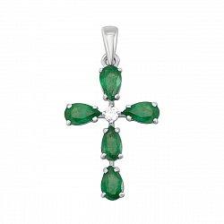 Золотой декоративный крестик в белом цвете с изумрудами и бриллиантами 000127068