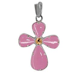 Серебряный крестик Вавилон с розовым кварцем и золотой накладкой 000016025