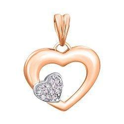 Золотой кулон Два сердечка с усыпкой фианитов