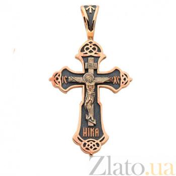 Крестик из красного золота с чернением Сын Божий HUF--11515-Ч