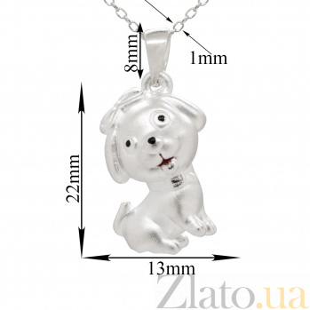 Серебряное колье Счастливый щенок с бантиком с черной и красной эмалью 000082162
