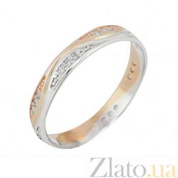 Золотое обручальное кольцо Ода любви в комбинированном цвете с бриллиантами VLA--13900
