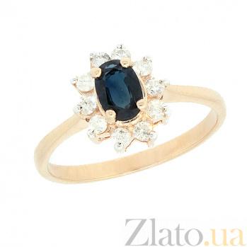Золотое кольцо Малинка в красном цвете с сапфиром и бриллиантами ZMX--RS-4235_K