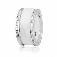 Серебряное разборное кольцо Trendy Choice из трех частей с белой керамикой и фианитами