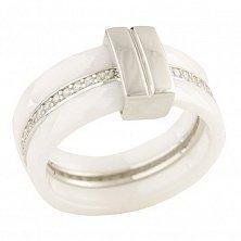 Серебряное кольцо Лизбет с белой керамикой и фианитами