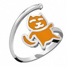 Серебряное кольцо Котик с эмалью