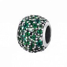 Серебряный подвес-шарм Милада с зелеными кристаллами циркония
