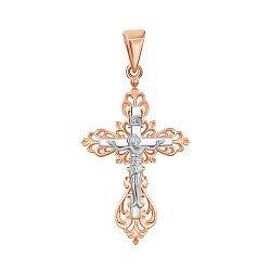 Золотой крестик в комбинированном цвете 000139960