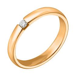 Обручальное кольцо из красного золота с бриллиантом 000001613