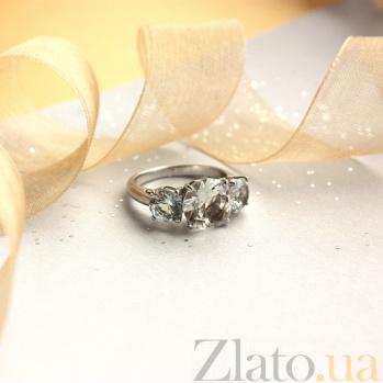 Кольцо из белого золота с аквамаринами Вероника 000029537