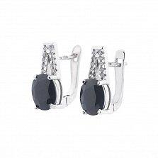 Серебряные серьги Фаина с сапфиром и фианитами