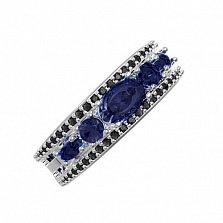 Серебряное кольцо Улексия с синтезированным сапфиром и фианитами