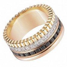Обручальное кольцо Мелодия в комбинированном золоте с фианитами и черной шпинелью в стиле Бушерон