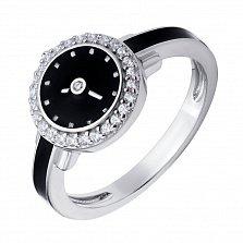Серебряное кольцо Часы с черной эмалью и фианитами
