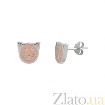 Серебряные серьги с эмалью Китти 3С203-0053