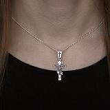 Крест из серебра с чернением Ангел хранитель