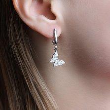 Серебряные серьги-подвески Бабочки с фианитами