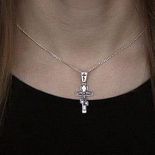 Серебряный крест Небесный покровитель с чернением