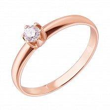 Кольцо в красном золоте с бриллиантом Теплое чувство 0,14ct