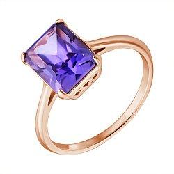 Кольцо из красного золота с синтезированным александритом 000121670