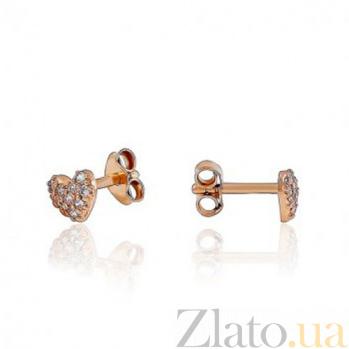 Золотые серьги с цирконием Айрес EDM--С0384-G