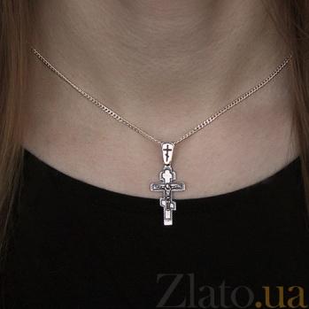 Крест из серебра с чернением Ангел хранитель HUF--311137-Ч