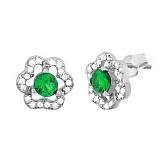 Серебряные cережки-пуссеты с зеленым цирконием Тюльпан