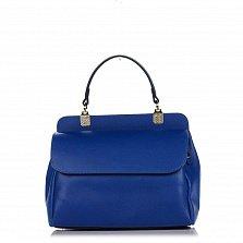 Кожаная сумка на каждый день Genuine Leather 8669 в синем цвете с ручкой и ремнем через плечо