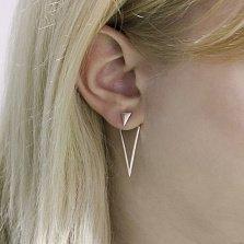 Серебряные серьги-джекеты Модная геометрия