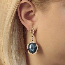 Золотые серьги-подвески Омут очарования с сапфирами и бриллиантами