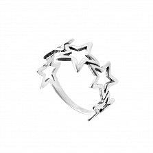Серебряное кольцо Звездный круг с резной шинкой
