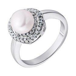 Серебряное кольцо с жемчугом и цирконием 000132662