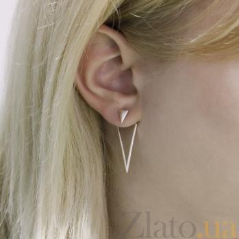 Серебряные серьги-джекеты Модная геометрия 000097334