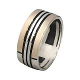 Серебряное кольцо с золотой вставкой Маренго