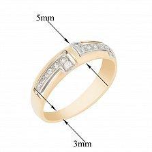 Золотое кольцо Амиара в комбинированном цвете с узорами и фианитами