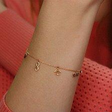 Золотой браслет Вечные ценности с символьными подвесками и фианитом
