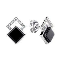 Серебряные серьги-пуссеты с керамикой и фианитами 000148018