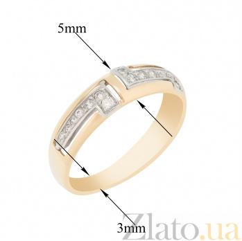 Золотое кольцо Амиара в комбинированном цвете с узорами и фианитами 000096685