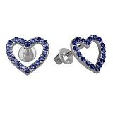 Серебряные серьги пуссеты с цирконием под сапфир Любимые