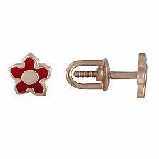 Золотые серьги-гвоздики с эмалью Цветочек
