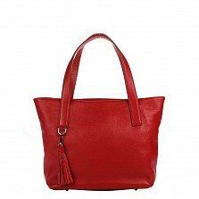Кожаная сумка на каждый день Genuine Leather 8665 бордового цвета на молнии, с подвеской-кисточкой