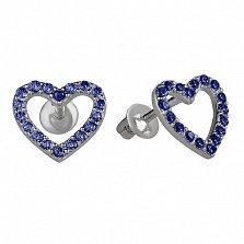 Серебряные пуссеты Любимые с сапфировым цирконием