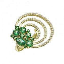 Кольцо из желтого золота с зелеными топазами и белыми фианитами 000081333