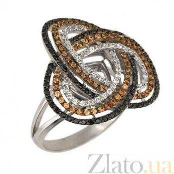 Кольцо из белого золота Фейерверк с фианитами VLT--ТТ1010