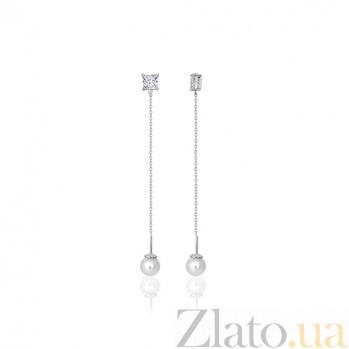 Серебряные сережки-висюльки с жемчугом и фианитами Ариана SLX--С2ФЖ/856