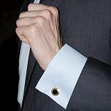 Серебряные запонки с ониксом Кларк