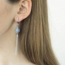 Серебряные серьги-подвески Глория с кисточками из цепочек, улекситами и фианитами