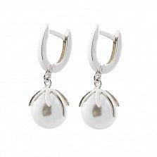 Серебряные серьги-подвески Дейзи с имитацией жемчуга